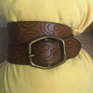 Gap Leather Belt Brown Flower design Large